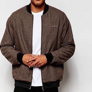 Adidas Originals Tweed Bomber Jacket Sz Lg Brown
